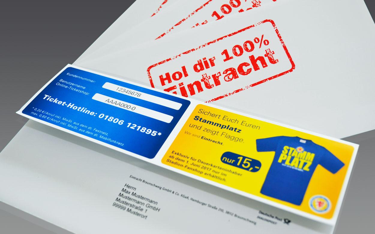 LITHOSCAN crossmedia | Selfmailer offen mit personalisiertem Code, für Eintracht Braunschweig