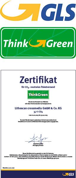 LITHOSCAN crossmedia | GLS, Zertifikat für CO2-neutralen Paketversand