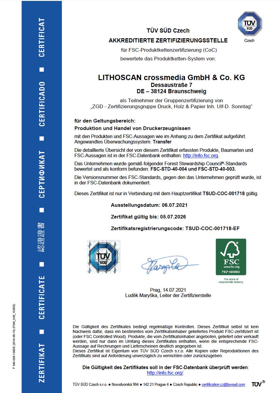 LITHOSCAN crossmedia | FSC-Zertifizierung 2021